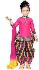 Meia for girls Self Design Cotton Silk Ethnic Kurti, Patiala and Dupatta Set