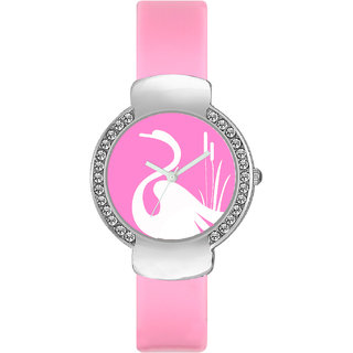 The Shopoholic Designer Pink Swan Dial Awesome Analog Watches For Girls