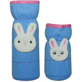 Wonderkids Bottle Cover Bunny Face Motif Set of 2 - Blue And Pink