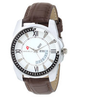 Golden Bell Original White Dial Brown Leather Strap Day