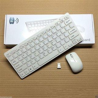 Fleejost 100 Original Wireless Keyboard  Mouse Combo Mini (White)