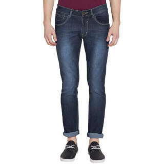 Stylox Men's Stylish Premium Stretchable Slim Fit Mid Rise Light Shaded Blue Jeans