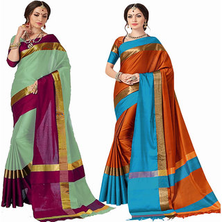 3c1256ab2a1290 Indian Beauty Women's Cotton Silk Bollywood Deigner Saree With (Pack of 2)  Sarees