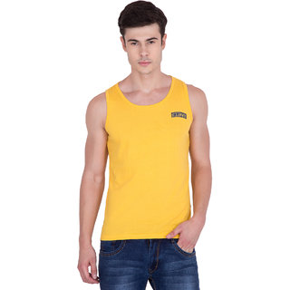PAUSE Yellow Solid Cotton Round Neck Slim Fit Sleeveless Men's Vest