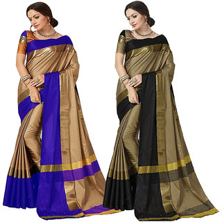Indian Beauty Women's Cotton Silk Bollywood Deigner Saree With (Pack of 2) Sarees