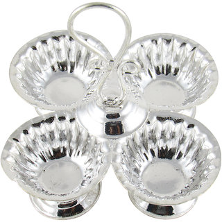 GoldGiftIdeas Silver Plated 4-In-1 Sparkle Kankavati, Pooja Items for Home,  Return Gift