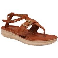 Labriza Tan Synthetic Sandals For Women