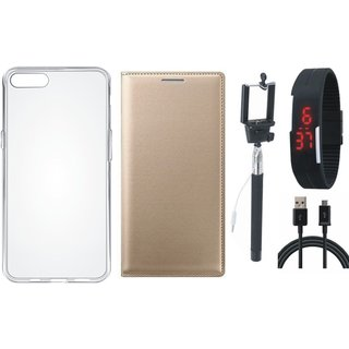 Coolpad Note 3 Lite Leather Flip Cover with Silicon Back Cover, Selfie Stick, Digtal Watch and USB Cable