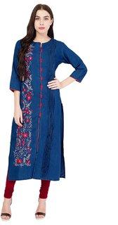 Pinky Pari Denim Embroidered Dark Blue Straight And Front Slit Kurti