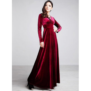 Westchic MAROON V-NECK VELVET Long Dress