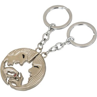 Shubheksha Boy-Girl Ring Metallic Keychain / Key Chain / Keyring / Key Ring