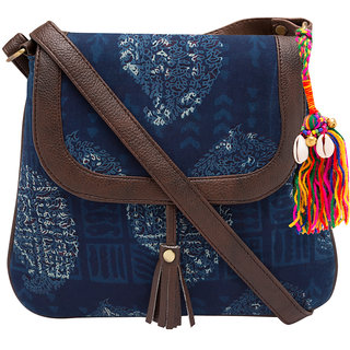 Vivinkaa Indigo Ethnic Printed Sling Bag for Women