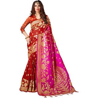 69034fa6ab84 Nandini Creation Red   Pink Color Cotton Silk Cotton SilkDesigner Party Wear  Saree 28433