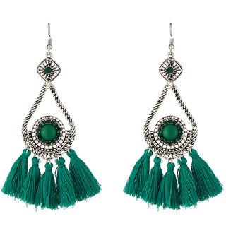 JewelMaze Green Thread Rhodium Plated Earrings