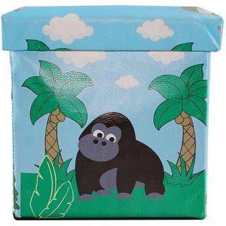 Wonderkids Square Shape Storage Box Gorilla Print - Blue