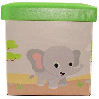 Wonderkids Square Shape Storage Box Elephant Print - Green