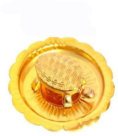 Vaastu/Fengshui Tortoise/Turtle (For Good Luck) with plate (Golden Colour)