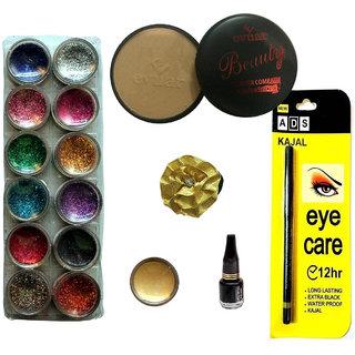 Vozwa 12 in 1 Glitter, Compact Powder, Eye liner, 1 Shimmer Powder, 1 Eye care kajal