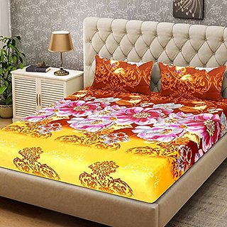 Status 3D Printed Digital Double Bedsheet with 2 Pillow Covers