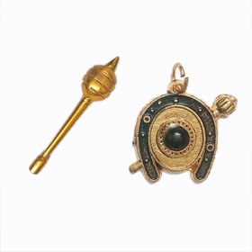 Shani Raksha Kavach(Without Chain) With Gold Plated Hanuman Gada (Mace)