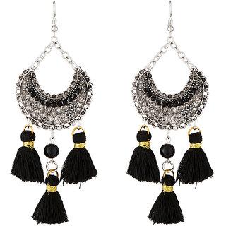 JewelMaze Rhodium Plated Black Beads Thread Earrings