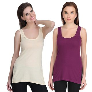 Care in Cotton Round Neck Solid Camisole for Womens Pack of 2