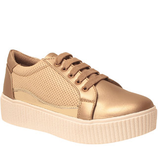 Msc Women Gold Synthetic Shoes