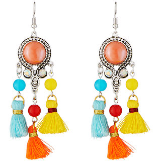JewelMaze Rhodium Plated Multicolour Thread Earrings