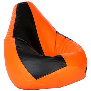 Sicillian Bean Bags Bean Bag - Size Xxxl - Without Fillers - Cover Only (Black & Orange)