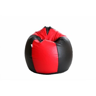 Sicillian Bean Bags Bean Bag - Size Jumbo - Without Fillers - Cover Only (Black & Red)