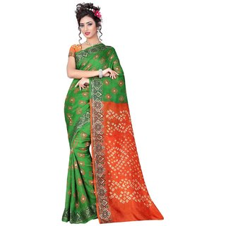 SUDARSHAN DESIGNER GULMAHOR SAREE-Green-NCF1203-VS-Bhandhani Art Silk
