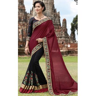 AMBICA FAB EMBROIDERY WORK HALF & HALF SAREE-Multicolor-SBW22018-VT-Embroidery