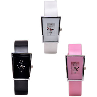 PMAX combo blue, pink, black glory for women analog watch