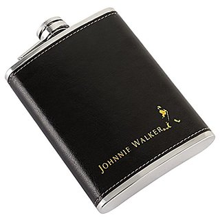 Johnnie Walker Liquor Holder Stitched Leather  Stainless Steel Hip Flask