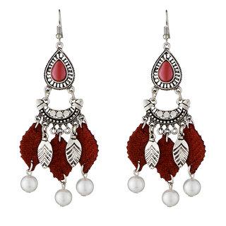 JewelMaze Maroon Thread Leaf Design Rhodium Plated Earrings