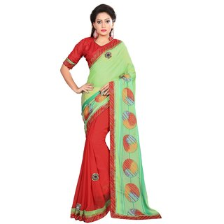 Indian Women green and red color chifon half-half saree.-Green-INWIC11207-MM-Chiffon