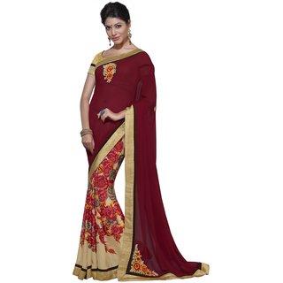 Maroon Georgette Floral Print Designer Saree-Maroon-INWIC40222-MM-Georgette