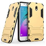Samsung Galaxy J7 Pro Graphic Designed KickStand Hard Dual Rugged Armor Hybrid Bumper Back Case Cover- Gold.