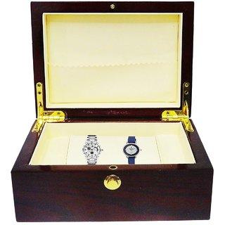 Atorakushon Couple Combo Wooden 2 slot Watch Box Jewellery Storage Bracelet Holder Case Leatherette (Brown)