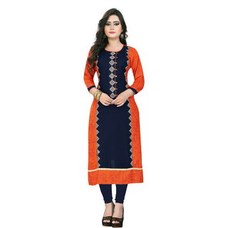Vaikuth Fabrics Orange Embroidered Rayon Stitched Kurti