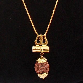 Shiv Shakti Kavach Rudraksha Trishul Damru Locket with chain by Beadworks