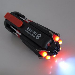 8 In 1 Multi Screwdriver LED Torch Portable Screw Driver Tool Kit