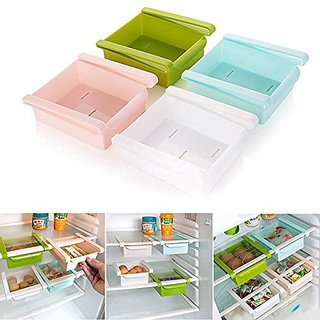 SNR Multi Purpose Plastic Kitchen Space Organizer Refrigerator Storage Rack (Pack of 4)