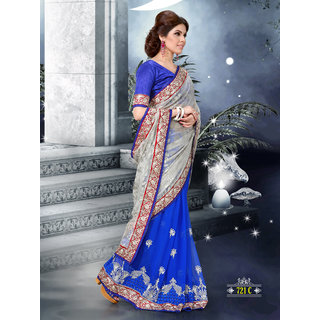 Royal Blue And Silver Embroidered Brasso Designer Saree