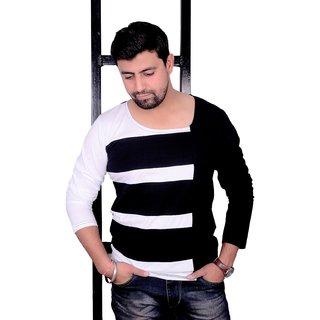 Buy EG Black And White Deep Neck Full Sleeve T Shirt Online   ₹799 ... 2e65858bf387