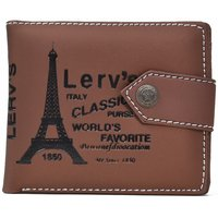 Fashion Empire Light Brown Eiffel Tower Wallet With Button