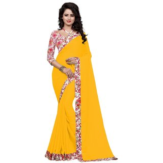 SUDARSHAN GEORGETTE PRINTED LACE BORDER SAREE-Yellow-NCFOD1003-VS-Georgette