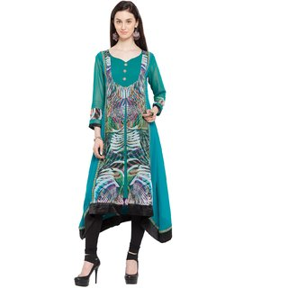 SUDARSHAN DESIGNER KURTI FOR WOMEN-Green-NKC1749-VS-Georgette