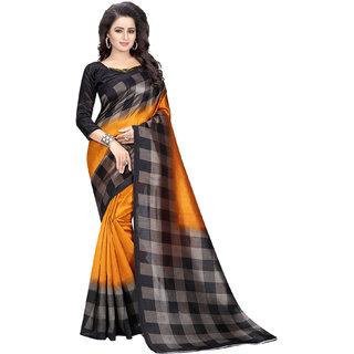 Shree Rajlaxmi Sarees Women's Mysore Mustard Art Silk Party Wear Saree With Blouse Piece (MUSTARD CHECKS)