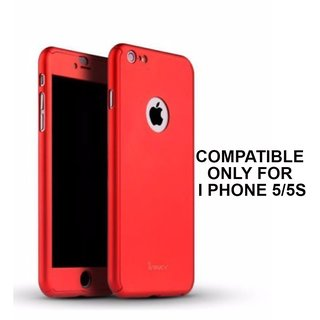 MOBIMON 360 Degree Full Body Protection Front Back Case Cover (iPaky Style) with Tempered Glass for IPhone 5 (Red)